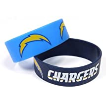 NFL San Diego Chargers Silicone Rubber Bracelet Set 2-Pack
