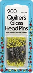 Dritz Quilter's Glass Head Pins Size 22 200/Pkg C106; 2 Items/Order