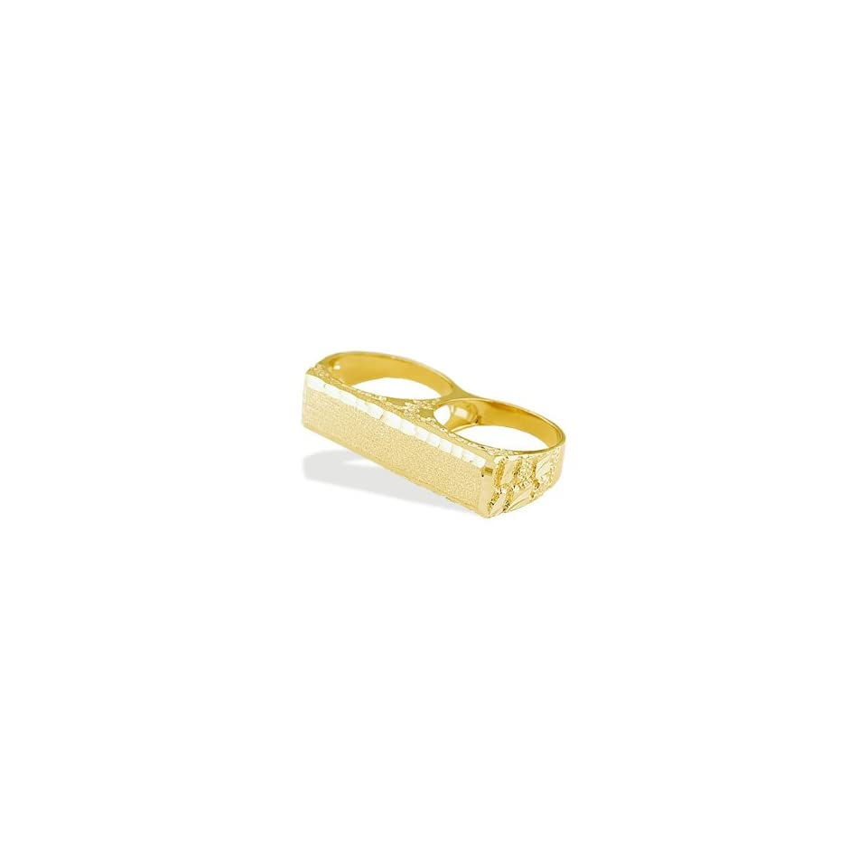 New Mens 14k Solid Yellow Gold Knuckle ID Nugget Ring