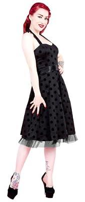 H&R London Leah Black Flock Polka Dot