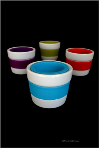 Set 4 Assorted Colors White Porcelain & Silicone Easter Egg Stand Cups Holders
