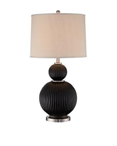 Lite Source Latona Table Lamp, Dark Walnut/Polished Steel/Beige