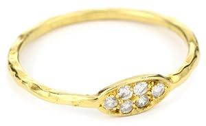 """Avindy Jewelry """"Pave Diamond"""" Golden Oval Six Diamond Ring, Size 6"""