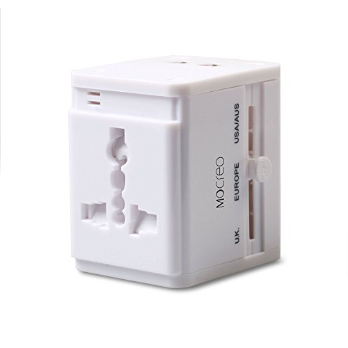 MOCREO® Universal World Wide All-in-one Safety Travel Charger Wall Charger Adapter Plug Built-in Dual USB Ports – Compatible w/ United States, Canada, Europe, Middle East, South America, Asia, The Caribbean, Great Britain ,Ireland, Africa, Hong Kong, Singapore, Australia, Fiji, New Zealand, China, Japan, and more than 150 countries (White)