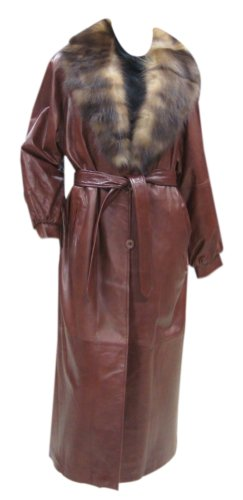 Bergama Brownish-Red Soft Light Weight Lamb Nappa Leather Coat with detachable Fox Collar-XXXX-Large-Brown