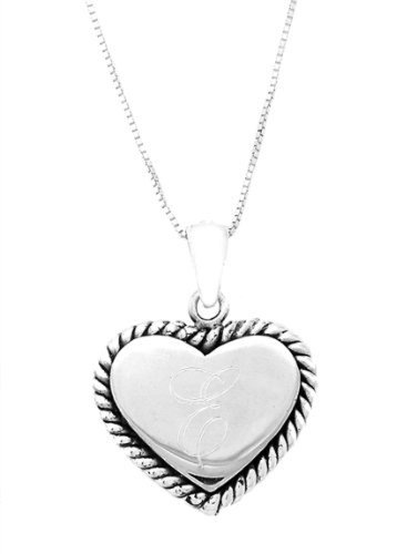 Silver Engravable Rope Edged Heart Pendant With Box Chain Necklace (16 Inches)
