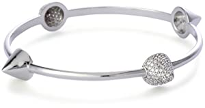 nOir Silver-Tone Cone Pave Stacking Bangle