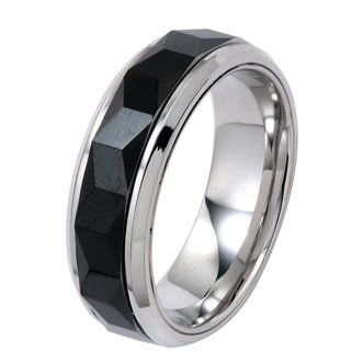 Polished Stainless Steel Wedding Band Ring With Black Faceted Center