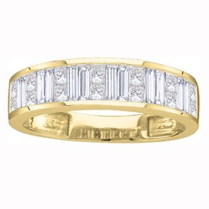 1/4 Carat Princess Baguette Diamond 14k Yellow Gold Wedding Ring