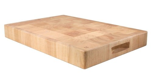 T & G Rectangular Chopping Board in End Grain Natural Hevea Wood, Large