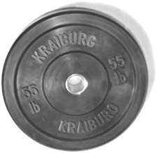 Kraiburg 55 lb Rubber Bumper Weight Plates for Crossfit Powerlifting One Pair