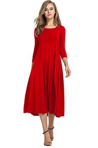 HOTOUCH Women Soft Knit Jersey Midi Long Dresses (Red L)