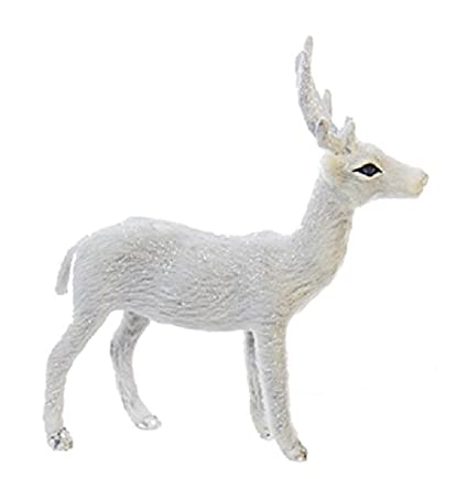 Frosted Kingdom Plush White Glittered 6-inch Table Top Standing Deer Christmas Table Top Figurine by KSA