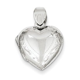 Genuine IceCarats Designer Jewelry Gift Sterling Silver Domed Heart Locket