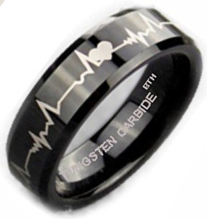 Tungsten Ring - Laser Forver Love Design Luxury Mens Tungsten Carbide Wedding Engagement Jewellery Band Ring- Size M - Comes In A Luxury Gift Box - ( Available In Most Sizes)