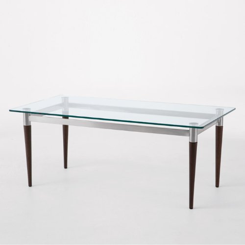 Siena Glass Top Coffee Table Glass Top/Cherry Finish Legs