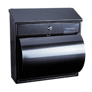Steel Black Post Box with Integrated Newspaper Holder Letter Box Mail Box Anthracite Large Mailbox Top Slot