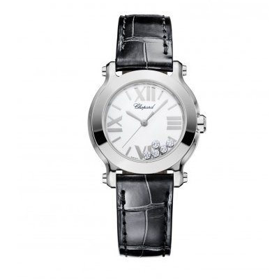 Chopard Happy Sport II Round White Diamond Dial Ladies Watch 278509-3001
