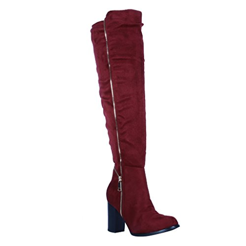 Cosha (Red Leather Thigh High Boots)