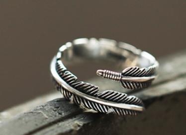 Suya Handmade/Gioielli/vintage/femmina//Anello in argento 925//Compleanno/San Valentino/Regali/piuma forme può essere Ridimensionato