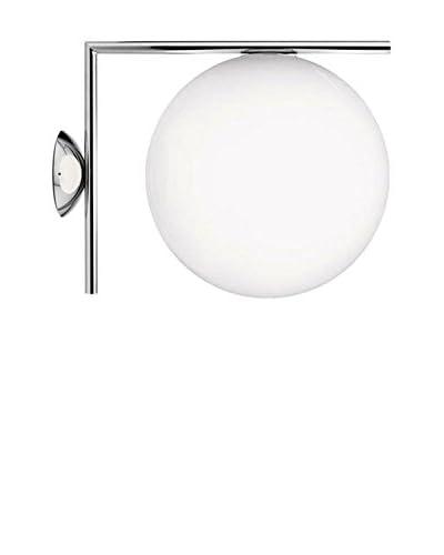 Flos Lampada A Parete/A Soffitto Ic C/W2 Vetro Bianco/Cromo Ø30 H 41,6 cm