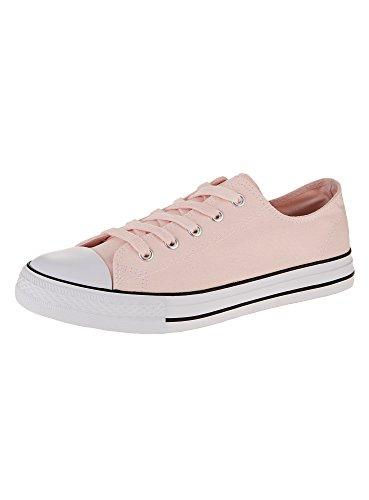 oodji-ultra-mujer-zapatillas-de-tela-basicas-con-acabado-en-contraste-rosa-40-eu-65-uk