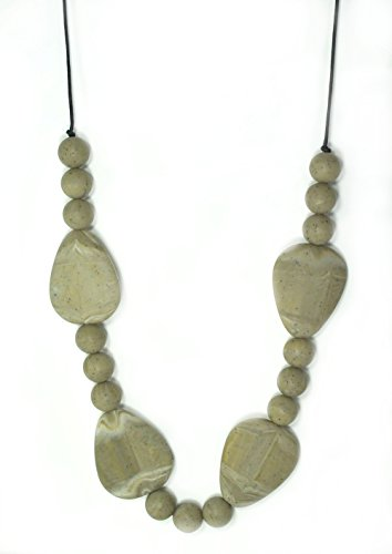 "Silli Me Jewels: ""Natural Beauty""- 30"" Brown Teething Necklace with Large Flat Beads for Mom to Wear and for Baby to Chew - 1"
