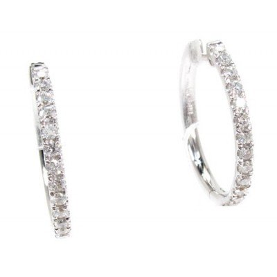 0.60 CT REAL ROUND DIAMOND HOOP EARRING IN 18K WHITE GOLD HALLMARKED