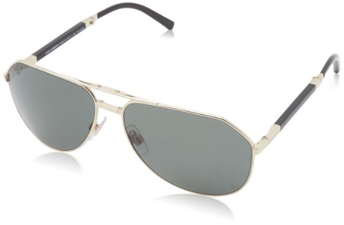 D&G Dolce & Gabbana Men's 0Dg2106K Aviator Polarized Sunglasses,Pale Gold Plated,61 mm