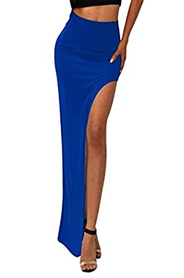 Ninimour- Fashion Trends High Waisted Side Slit Women Maxi Skirt Clubwear