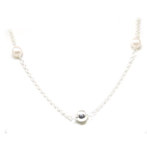 Toc Sterling Silver Simulated Pearl and Silver Bead Necklace 24 Inch