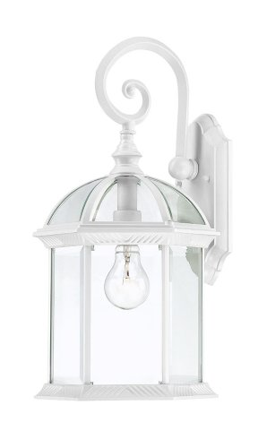 Nuvo Lighting 60/4961 Boxwood One Light Small Wall Lantern/Arm Down 100 Watt A19 Max. Clear Beveled Glass White Outdoor Fixture
