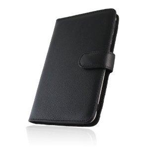 Navitech schwarze premium 7 Zoll bycast Leder flip Trage Tasche / Cover / Case im Buch Stil für das SuperSlimHD PowerTab v2 Tablet PC