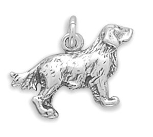 Sterling Silver Golden Retriever Charm with 18