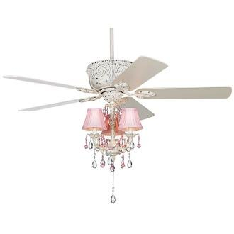 52 casa deville pretty in pink pull chain ceiling fan - Girl ceiling fans with chandelier ...