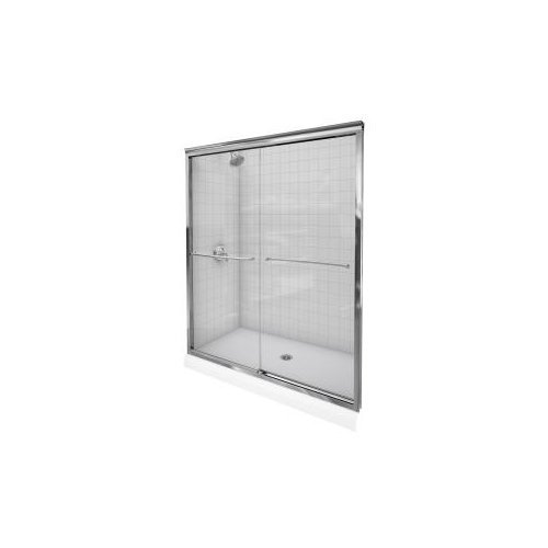 Kohler K-702206-L-SHP Fluence 56-5/8-to-59-5/8-Inch by 70-5/16-Inch Frameless Sliding Door with Crystal Clear Glass, Bright Polished Silver image