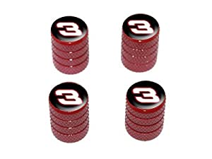 Racing Race Car Number 3 – Tire Rim Valve Stem Caps – Red
