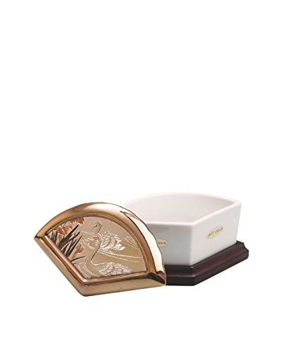 Dynasty Gallery Chokin Art Fan Box Swan, Ivory