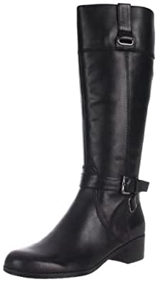 Bandolino Women's Cazadora Riding Boot,Black Leather,5 M US