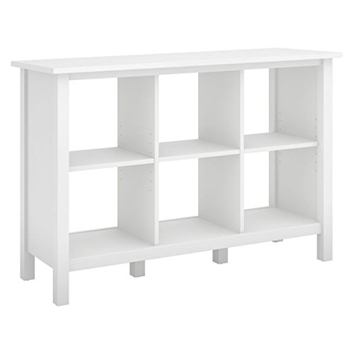 Broadview Collection White 6-cube Bookcase Bush Furniture 4 Shelf Bookcase