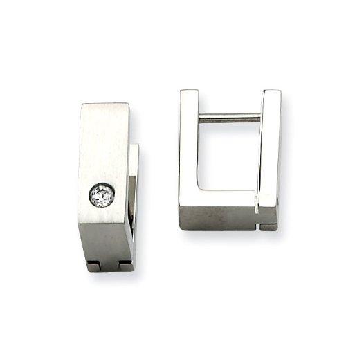 Stainless Steel CZ Satin Hinged Square Hoop Earrings - JewelryWeb
