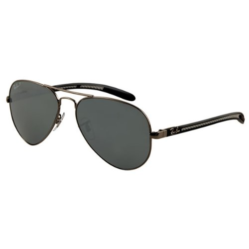 Sunglasses Rayban RB 8307 Aviator Carbon Fibre 004/N8 Grey polarized 58 mm