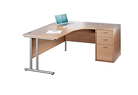 BiMi 1600mm OAK Ergonomic Right Hand Corner Desk With 3 Draw Desk High Pedestal