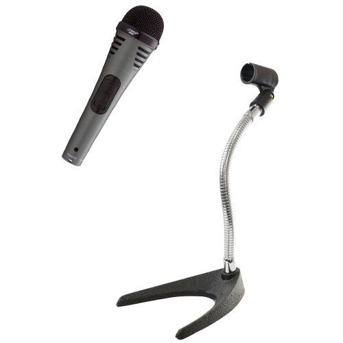 Pyle Mic And Stand Package - Pdmik2 Professional Moving Coil Dynamic Handheld Microphone - Pmks8 U-Base Gooseneck Desktop Microphone Stand