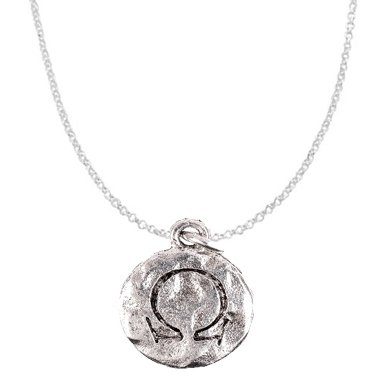 "Chelsea Hill ""Omega"" Greek Sorority Symbol Necklace, Hammered Silver-Tone Pewter"
