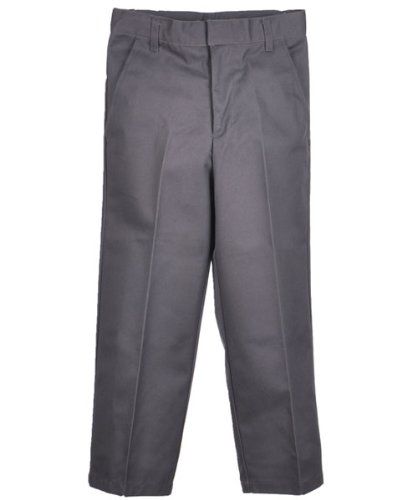 French Toast Big Boys' Flat Front Wrinkle No More Double Knee Pants - gray, 12