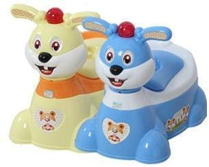 Musical Type Cute Cartoon Rabbit Child Step-by-step Potty Toilet Trainer K1216 (Blue)