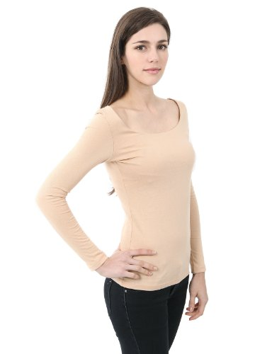 Doublju Women's Sheer Rib Long-Sleeve Scoop Neck T-Shirt BEIGE M