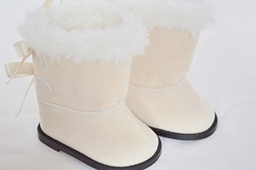 IVORY BOW BOOTS FOR AMERICAN GIRL DOLLS AND BITTY TWINS