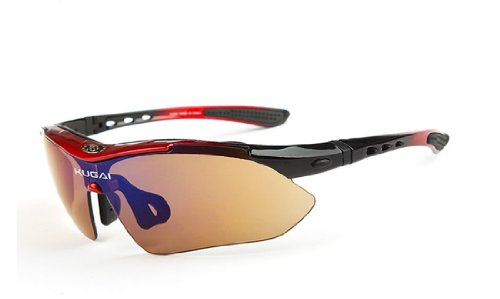 UV400 sports sunglasses UV 100% cut 5 bullet-proof lens full set jog / marine sports / survival (black / red)